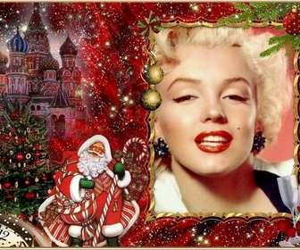 Elegante fotomontaggio di Natale e Babbo Natale per aggiungere la foto