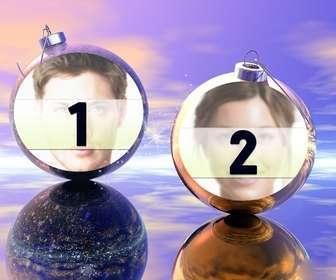 Divertente Natale montaggio dove si possono mettere due immagini su palle di Natale. Ideale da inviare come un saluto.