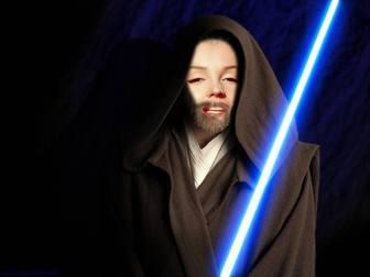 Fotomontaggio di Obi Wan Kenobi in Star Wars il film. Creare il collage con le vostre foto.