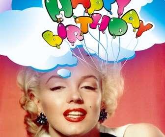 Cartoline Felice auguri di compleanno con palloncini.