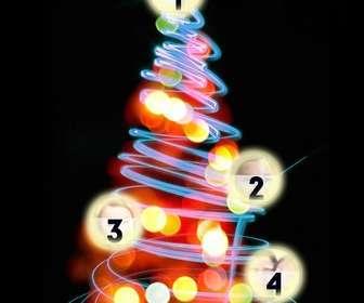 albero di natale fotomontaggio dove puo mettere 4 immagini sulle palle illuminate