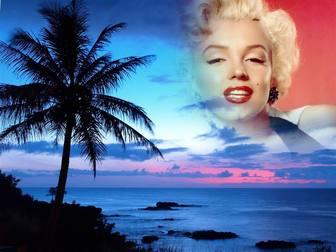 Montare per le foto in un paesaggio idilliaco di costa e il cielo blu. xx creare un collage con la tua foto con uno sfondo in cui si vede una grande palma e il cielo per questo paesaggio con una fotografia che mostra attraverso ai bordi sembrano rimuovere i bordi e gli effetti regolari. Per ricordare una persona speciale, mettendo la sua foto nel cielo di un tramonto in paradiso.