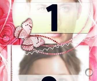 Frame per due foto damore con decorazioni di rose e farfalle.