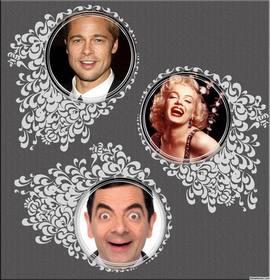 collage decorativo per modificare con tre immagini con ornamenti floreali