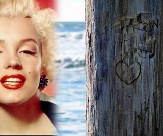 Mettere la foto che si desidera accanto a un albero in cui vi è intagliato un cuore. Ideale per una cartolina.