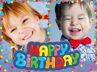 Colorato e allegro buon compleanno collage di modificare con due foto
