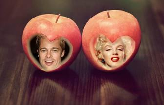 Lamore fotomontaggio per due foto con le mele