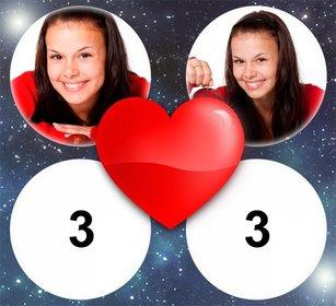 Effetto Foto di amore con un cuore per 4 immagini