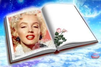 Fotomontaggio di mettere la tua foto in un libro con due rose.