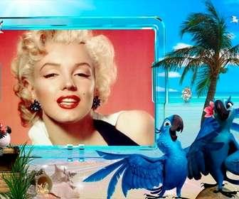 Estate fotomontaggio di mettere la vostra foto su una spiaggia.