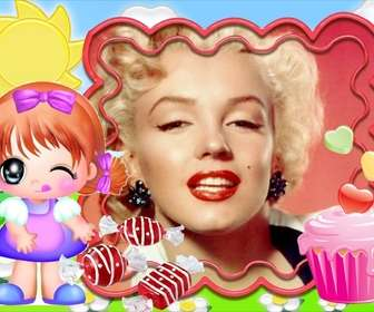 Photo frame per i bambini. Bambino felice di mangiare caramelle.