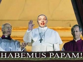 Fotomontaggio di Papa a mettere il viso e la frase di Habemus Papam