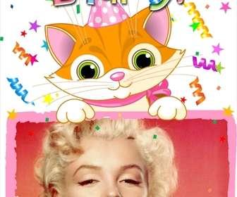 Photo frame che includono una fotografia, che sottoporre un gatto disegnato. Progettato per il compleanno di uso delle carte di auguri.