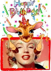 Biglietto di auguri personalizzabile con un compleanno giraffa.