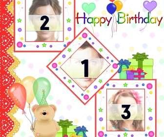 Cartolina / birthday card per 3 foto con palloncini e regali orsacchiotto orso.