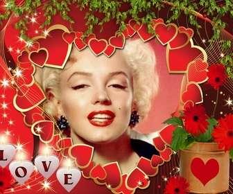 Amore cartolina con molti cuori e il testo AMORE.