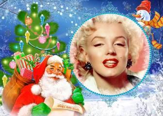 Cornice per foto con Babbo Natale carico di doni in un sacco.