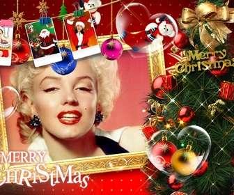 Bella Cartolina di Natale con addobbi natalizi, regali, le immagini di Babbo Natale e regali. Smettere di cartoline di Natale con la tua foto.