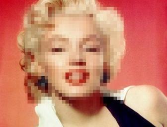 Nasconde i volti delle foto in linea, foto a pixel.