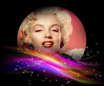 Nero photo frame con alcune luci glowwing di colori vivaci sul fondo e un buco rotondo di mettere una foto.