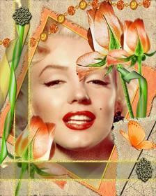 Telaio modello con fiori e la tua foto.
