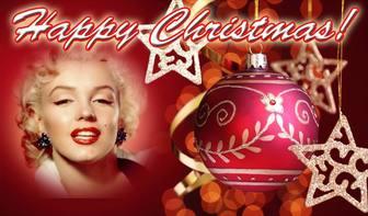 Messaggio per congratularmi con il Natale BUON NATALE testo e sfondo rosso con una palla di Natale. Metti la tua foto a priorità bassa.