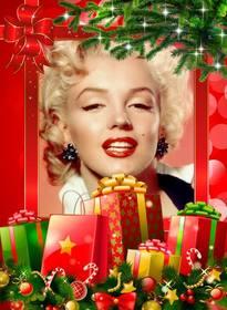 Cornice di Natale con molti regali da personalizzare con la tua foto.