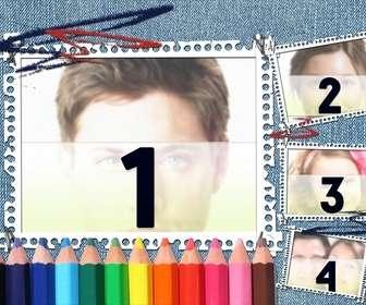 Ideale per tornare a sfondo scolastico denim e matite colorate. La tua immagine appare nella cornice con strisce di notebook.