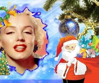 cartolina di Natale Illustrato con Babbo Natale per decorare le tue foto online