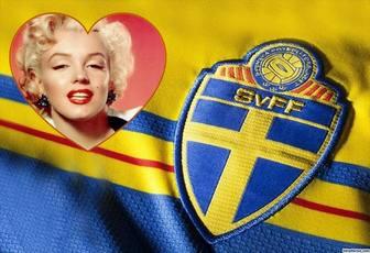 Montaggio aggiungere la foto vicino alla maglia da calcio della Svezia