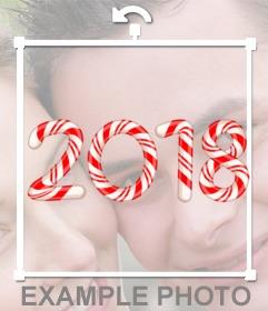 Congratula il nuovo anno 2018 con i numeri a forma di caramelle
