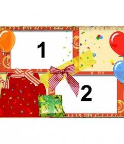 Cartolina di compleanno con palloncini e regali per due foto.