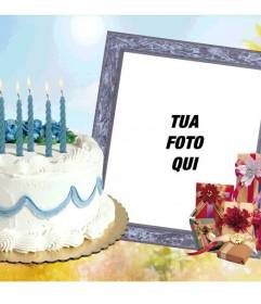 Cornice per foto con torta di compleanno e regali