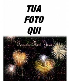 """Cartolina di Natale abbiamo dato il benvenuto al nuovo anno in lingua inglese. Siamo in grado di inserire una foto in cima a un cielo notturno pieno di fuochi d""""artificio"""