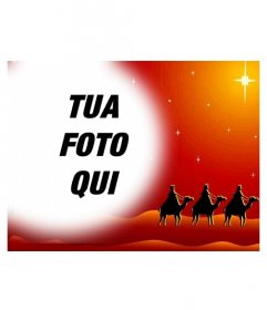 Cartolina di Natale in cui la tua foto apparirà in una cornice circolare con effetto sfumato sui bordi, su una foto di colori caldi che rappresentano i tre saggi su cammelli Oriente