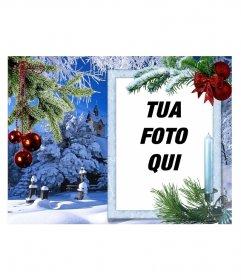 Cartolina di Natale con la tua foto su una cornice rettangolare bianco