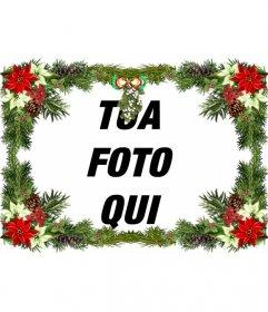Cornice per foto con decorazioni per l'albero di Natale che è possibile utilizzare come un augurio di Natale.