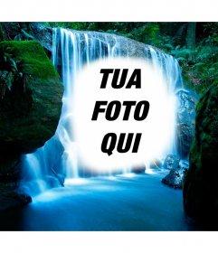 Fotomontaggio in una cascata nella giungla.