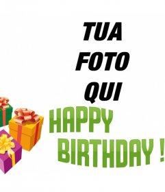 Fotomontaggio di fare un biglietto di auguri con la tua foto con il testo BIRTHDAY