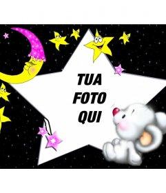 Cornice Child, Orso dormire con la luna e le stelle.