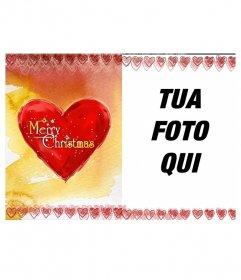 Photo frame Cartolina di Natale con un cuore su cui è scritto Merry Christmas.