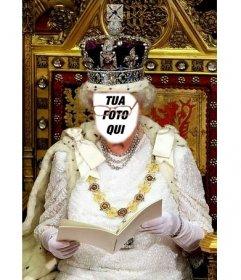 In questo fotomontaggio vi sarà la regina dInghilterra seduto sul suo trono reale
