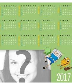 Calendario 2017 in inglese con un disegno di Adventure Time per aggiungere il