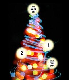 Albero di Natale Fotomontaggio dove si può mettere 4 immagini sulle palle illuminate