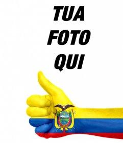 Aggiungere una mano con la bandiera dellEcuador dipinta nelle foto
