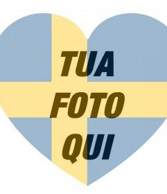 Svezia bandiera a forma di cuore come un filtro per aggiungere alle foto