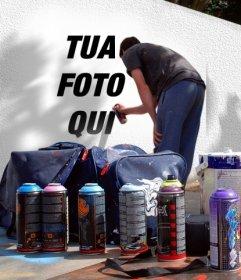 Fotomontaggio di mettere la tua foto su un graffito strada. È possibile utilizzare una delle tue foto Parea creare questo montaggio