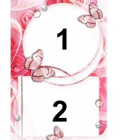 Frame per due foto damore con decorazioni di rose e farfalle