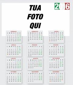 2016 Calendario per costumize con la tua foto