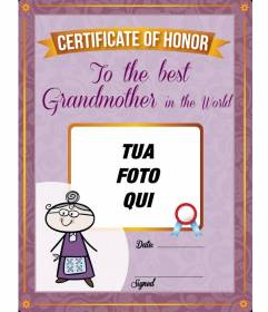 Diploma da stampare e personalizzare con una foto di tua nonna online gratuito